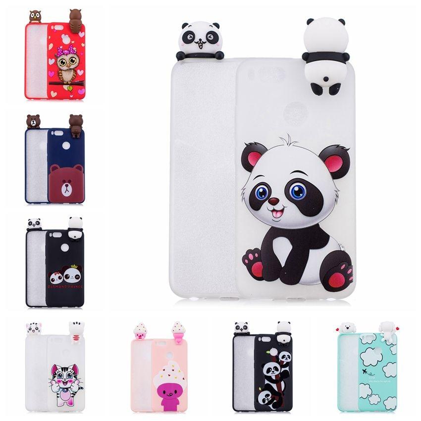 3D Cartoon Owl Cases For Coque xiaomi Mi 5X A1 Case Soft Silicone Squishy cat Panda Bear for Xiaomi 6X redmi 5A Cover