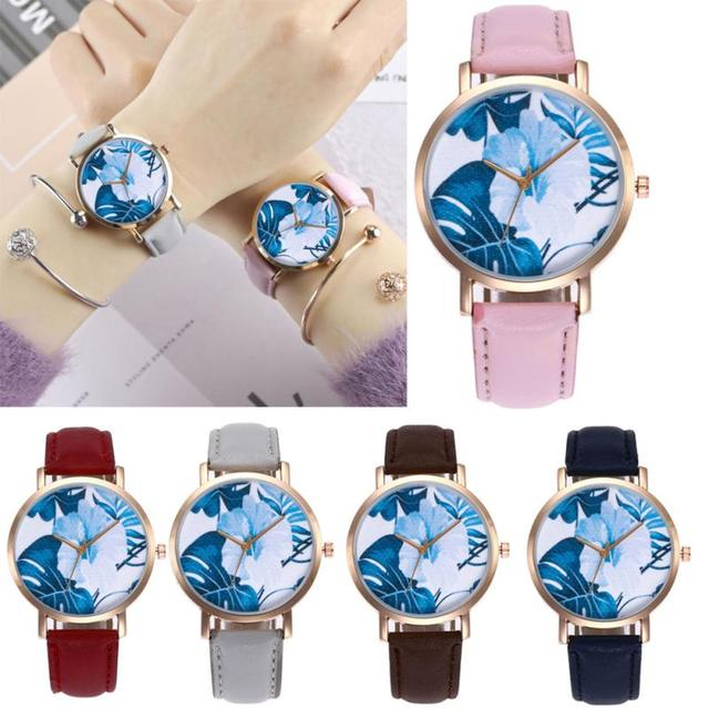 women watches bracelet watch ladies Rainforest Leaves Simple Business Quartz Wri