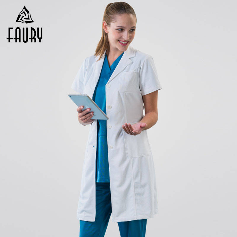 Manteau blanc à manches courtes médecin vêtements femme et homme hôpital médical vêtements étudiant chimique laboratoire infirmière porter salopette