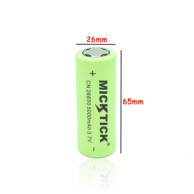 3.7V 5000mAh 26650 MICKTICK Battery batteries lithium Li Ion Rechargeable Large Capacity T6 strong light flashlight