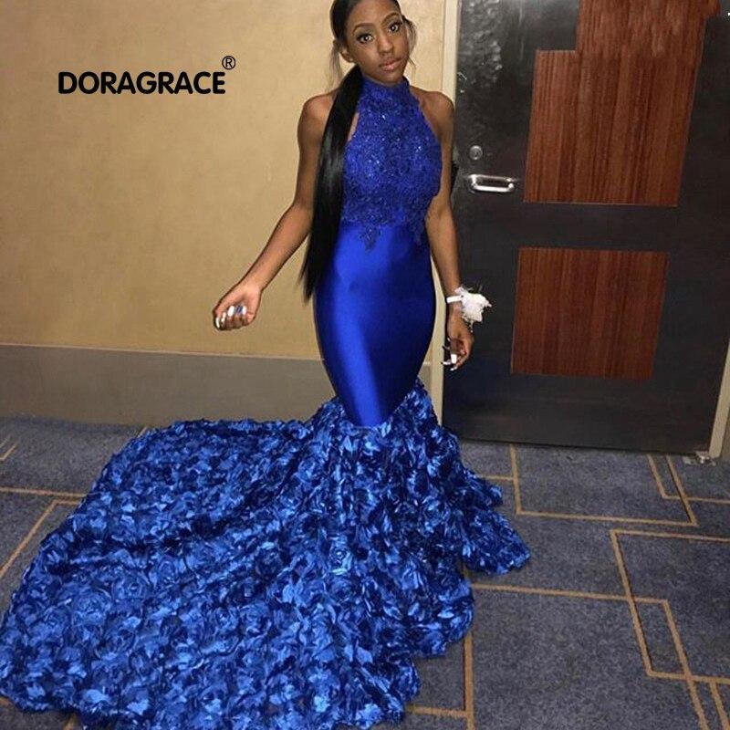 Superbes robes de bal sirène bleu Royal africain 2019 licou sans manches Appliques 3D Floral robes de bal filles noires