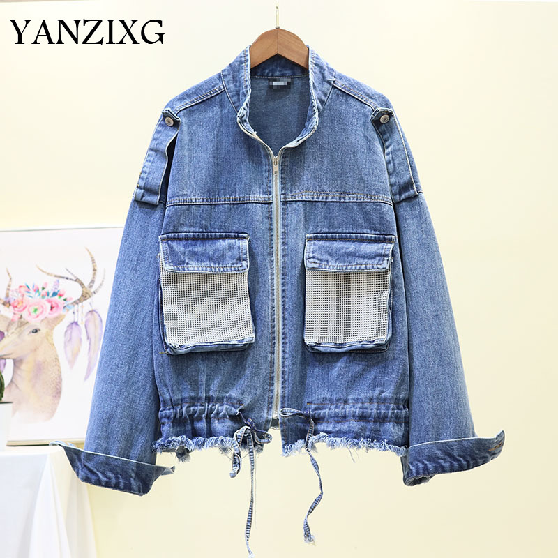 2019 Summer New Fashion Jacket Sequins Pockets Diamonds Long Sleeve Loose Ladies Clothing Trend Women Denim