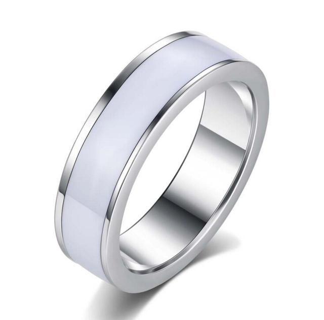 Anenjery Wedding Rings Stainless Steel White Rings Titanium Steel anillos For Wo