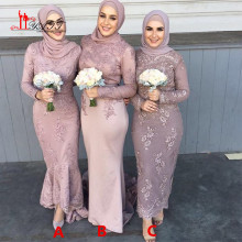 2017 New Arrival Long Sleeves Hijab Muslim Bridesmaid Dresses Beaded Lace Appliques Dubai Arabic Bride of Honor Dress Long