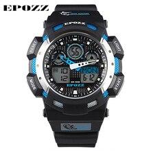 EPOZZ Sport Watch Digital Analog Dual Time Alarm Silicone Black Quartz Men Wristwatch Watches Military Male Relogio masculino