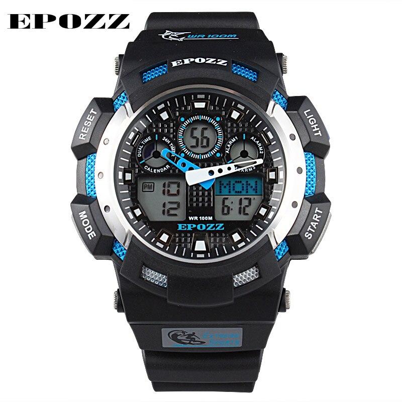 76a9b4f44193 Epozz reloj deportivo digital analógico doble de tiempo de alarma de silicona  negro cuarzo de los hombres mira el reloj masculino militar relogio  masculino ...