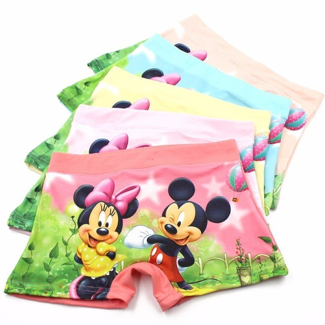 735d01dad 10pcs/Lot Children Girls 3D Cartoon Mickey Cute Underwear Kids Cozy Cotton  Underpants Infant Baby Girl Panties Boxer Briefs