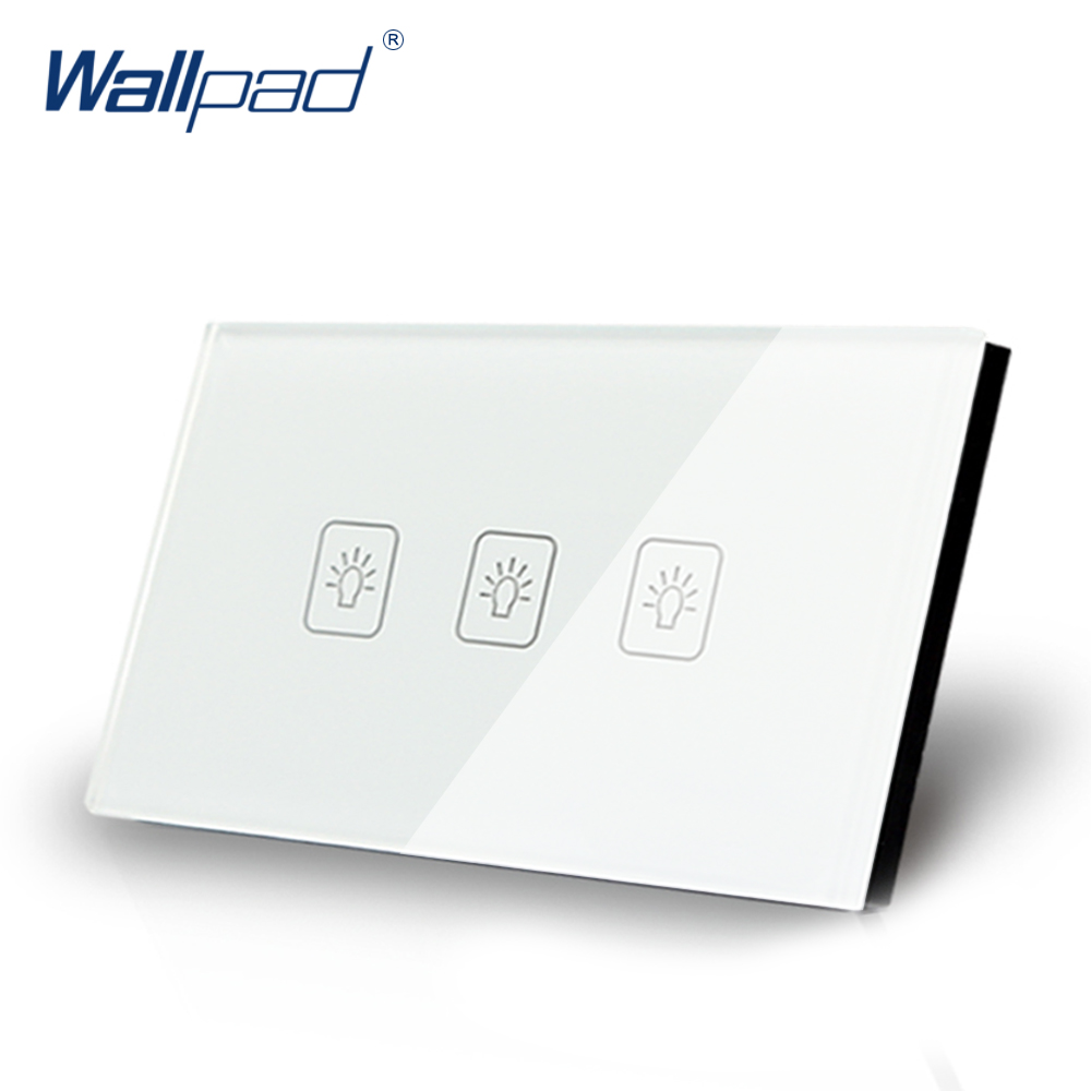 3 Gang 1 Way US/AU Standard Wallpad Touch Switch Touch Screen Light Switch White Crystal Glass Panel Free Shipping free shipping us au standard touch switch 2 gang 1 way control crystal glass panel wall light switch kt002us