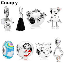 Couqcy Hot Sale Bead Charm with Authentic Flowers Love Hearts Silver Fit Pandora Original Charms Bracelet Women Jewelry Gift