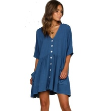 Womens Dress Summer Fashion V-neck Pocket Short Female Sleeve Loose Dresses Women Clothing