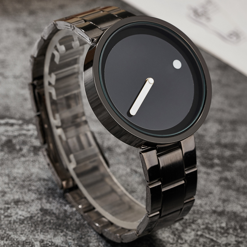 Classic Fashion Business Men's Quartz Wrist Watches Simple Black Dial Full Stainless Steel Watch Men Gifts Relojes de pulsera relojes full stainless steel men s sprot watch black and white face vx42 movement
