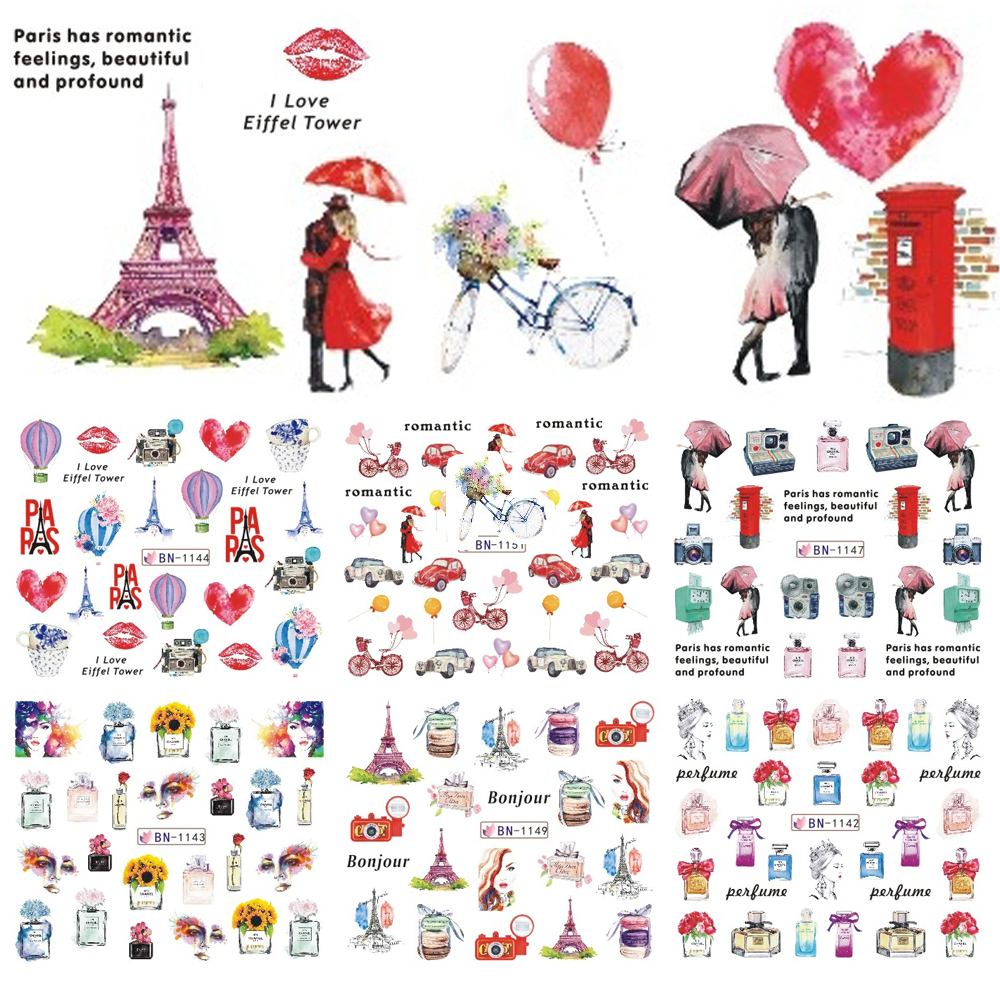 Perfume And Water Tattoo: 1pcs Water Nail Stickers Romantic Paris Watermark Slider