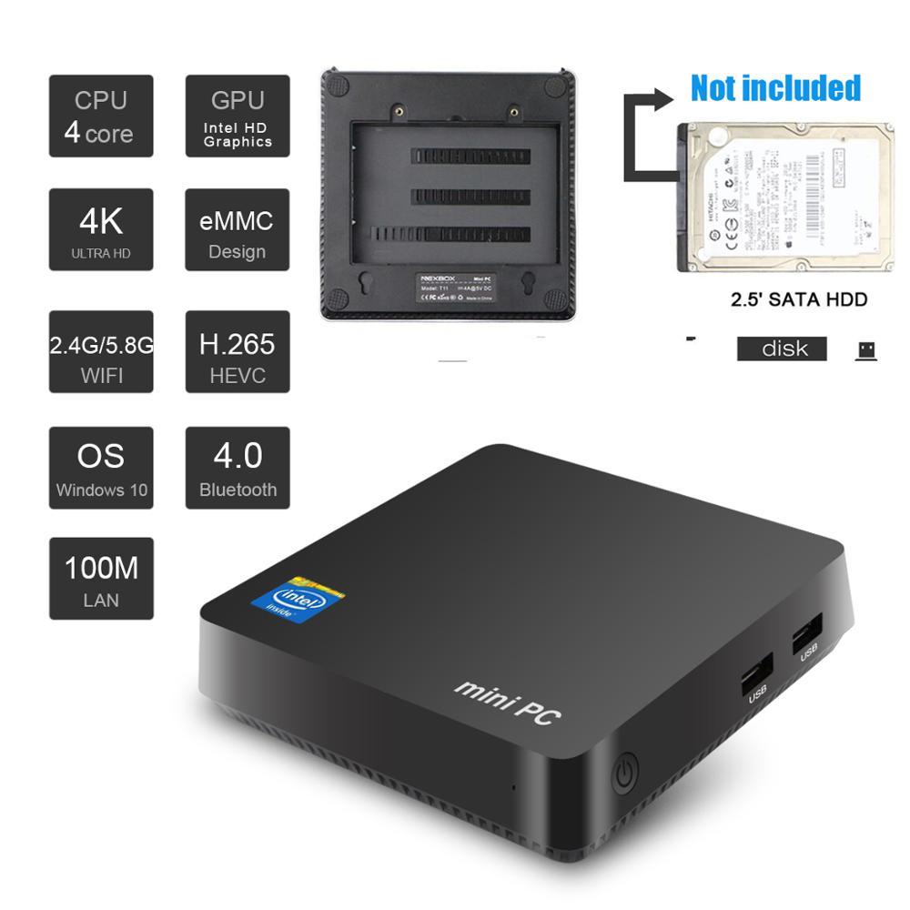 Wall Mountable Windows Mini Pc (Z8350(Quad-Core), 4GB+32GB, 2.4G/5.8G Wifi, 1000m Ethernet, HDMI,VGA Ports, Expansion Hard Disk)