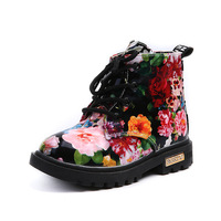 Girls Boots 2017 New Fashion Elegant Floral Flower Print Kids Shoes Baby Martin Boots Casual Leather