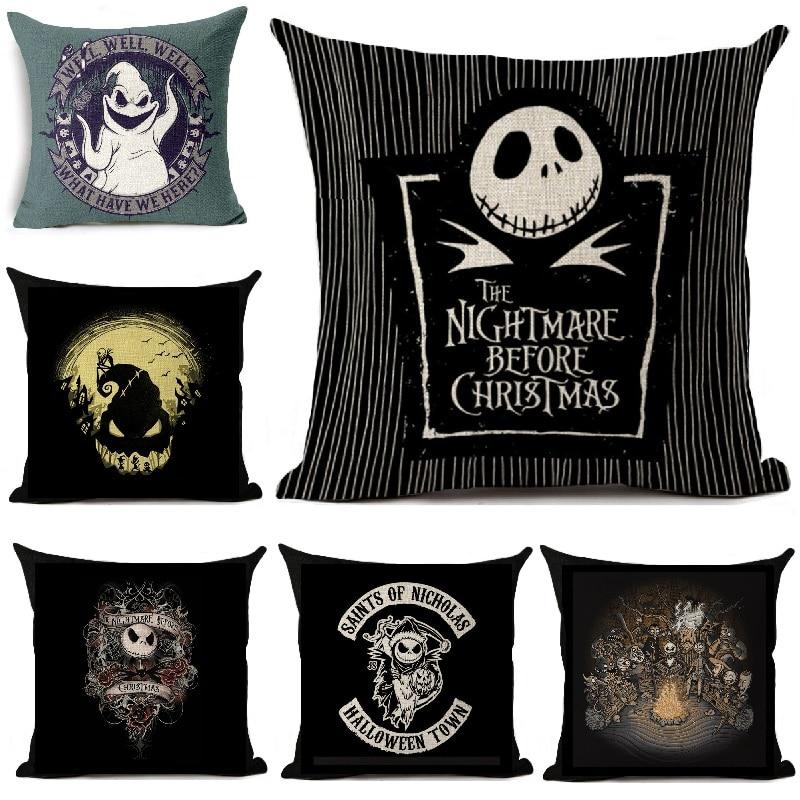 Halloween Cartoon Skull Jack Cushion Cover Nightmare Before Christmas Printed Linen Throw Pillows Cover Decorative Pillowcase