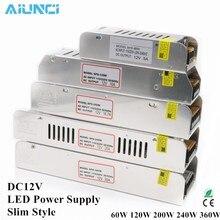 Adaptateur LED ac 220v à DC12V, transformateur d'éclairage mince, 60W 120W 200W 240W 360W