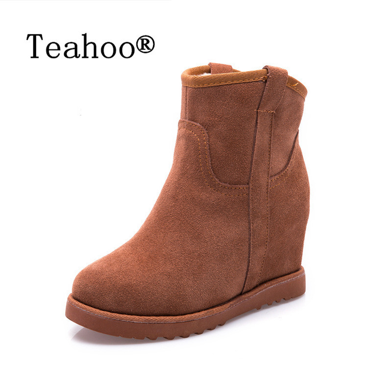 2015 Winter Autumn Wedge Genuine Leather Boots Women Fashion Breathable Height Lace Platform Shoes Woman Snow Boots
