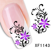 цена на flower design Water Transfer Nails Art Sticker decals lady women manicure tools Nail Wraps Decals wholesale XF1143