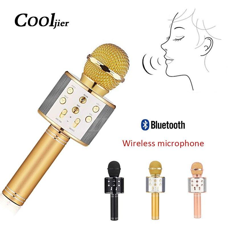 COOLJIER WS858 KTV Microfone Microfone de Karaokê Sem Fio Portátil Bluetooth Speaker portátil Microfone para a Música Tocando e Cantando