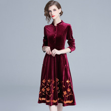 Autumn and Winter Ladys Midi Dress Embroidered Velvet Sequins with Long Sleeves High Collar