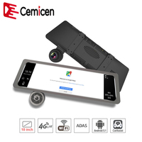 Cemicen Android 5.1 Car DVR 4G 10 Inch Touch Dash Cam Rearview Mirror Dash Camera Dual Lens ADAS GPS Navigation Wifi Recorder