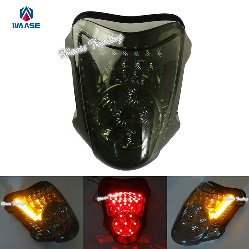 Chrome Led Tail Brake Turn Signals Integrated Light Smoke For 2008-2016 2010 2012 2014 SUZUKI Hayabusa GSX1300R GSXR GSX-R 1300 front turn signal light lens for suzuki hayabusa gsx1300r gsxr1300 2008 2012