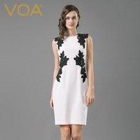 VOA 2017 Summer Elastic Silk White Floral Dress Women Brief Sleeveless Slim Applique Pencil Dresses OL A6637