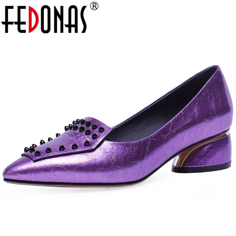 FEDONAS Fashion Sexy Women High Heels Party Wedding Shoes Woman Rivets Night Club Dancing Pumps Pointed