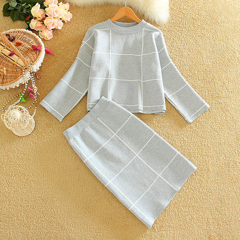 Two Piece Set Women Fashion 2019 Woman Knitted Tops+Skirts Sets Big Plaid Ladies Winter Cl