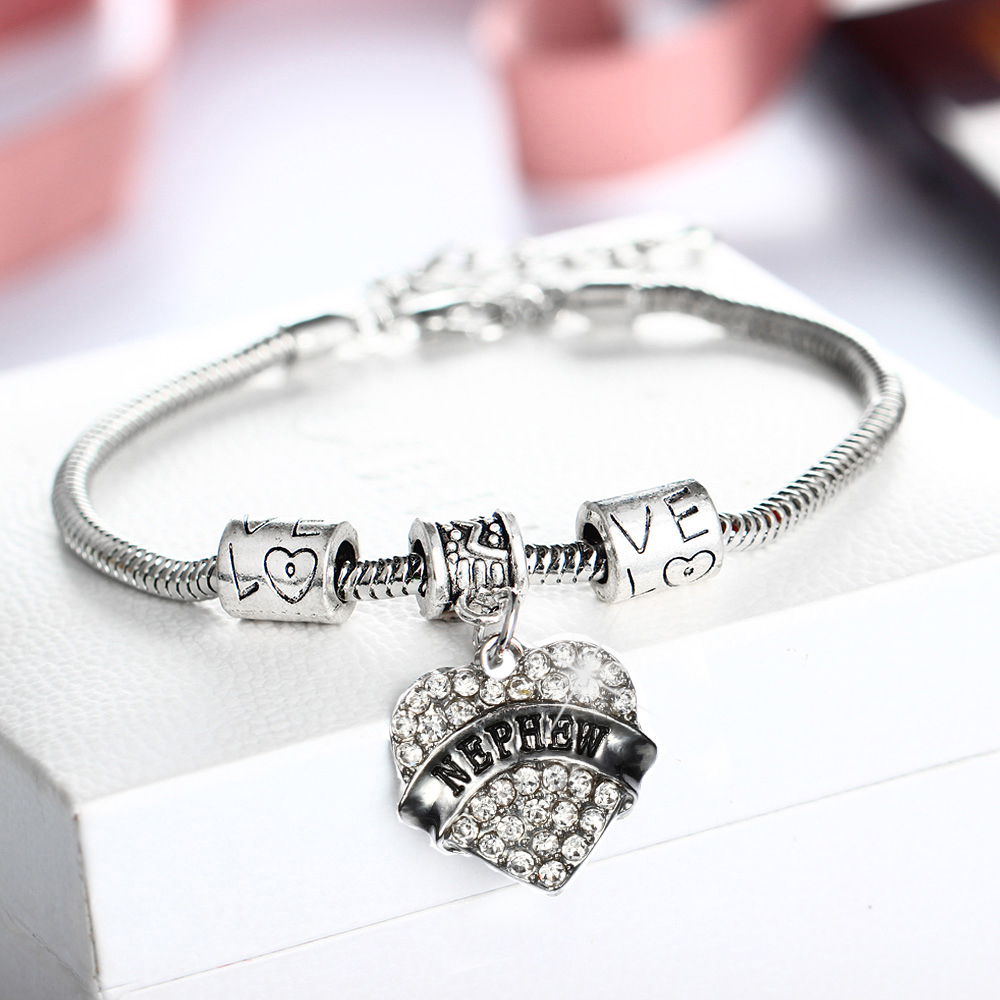 Crystal Love Heart Charm Pendant Bracelets Engraved NEPHEW Family Gifts Chain Beads Bangles Women Jewelry Aunt Grandma Mother