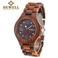 Woodeen bewell relojes hombres mujeres reloj 2016 movimiento de cuarzo de moda reloj mujer del relogio feminino de madera con caja de papel 038a