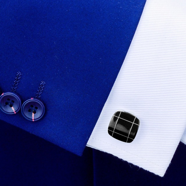 SAVOYSHI noir carré pierre boutons de manchette pour hommes chemise boutons de manchette cadeau fin haute qualité boutons de manchette marque mode hommes bijoux