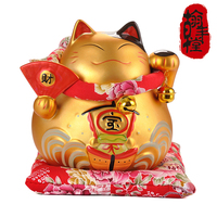 Genuine 6 Inch Matte Money Fan Treasure Ship Lucky Cat Piggy Money Marriage Opened Home Furnishing