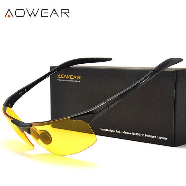 39f8fffa708 AOWEAR Mens Polarized Night Vision Glasses for Night Driving Yellow  Sunglasses Men Aluminium Anti-Glare