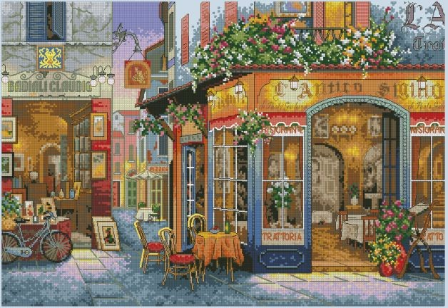 CS-1615 Counted Cross Stitch Kit European Bistro Bar Saloon 35224