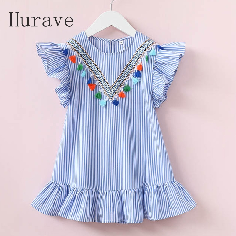 Hurave girls dress girl clothing tassel dress for girl striped robe fille ruffles kids clothing beautiful blue vestidos