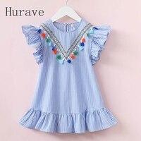 Hurave Girls Dress Girl Clothing Tassel Dress For Girl Striped Robe Fille Ruffles Kids Clothing Beautiful