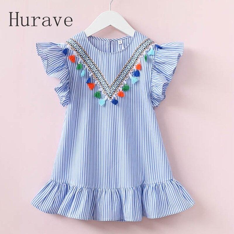 Hurave girls dress girl clothing tassel dress for girl striped robe fille ruffles kids clothing beautiful blue vestidos