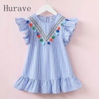 Hurave Girls Dress Girl Clothing Tassel Dress For Girl Striped Robe Fille Ruffles Kids Clothing Beautiful