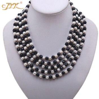 JYX feine Perle Lange Halskette 5-strang Weiß Süßwasser Perle Halskette mit Bule Sand Stein 7-8mm 17-21 zoll spezielle geschenk frauen