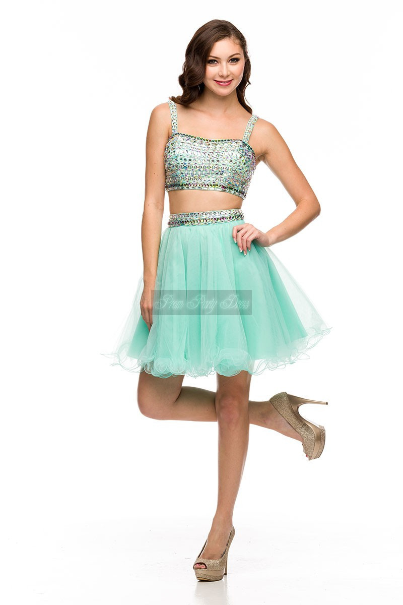 Sexy Teens Formal Dress Two Pieces Beaded Stones Short Prom Dress