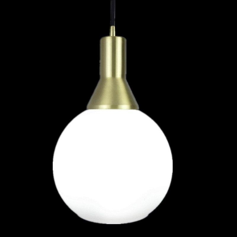 E27 tout en laiton simple tête suspension AC 100% pur cuivre matériel suspension lampe ronde en verre blanc LED ampoule luminaire