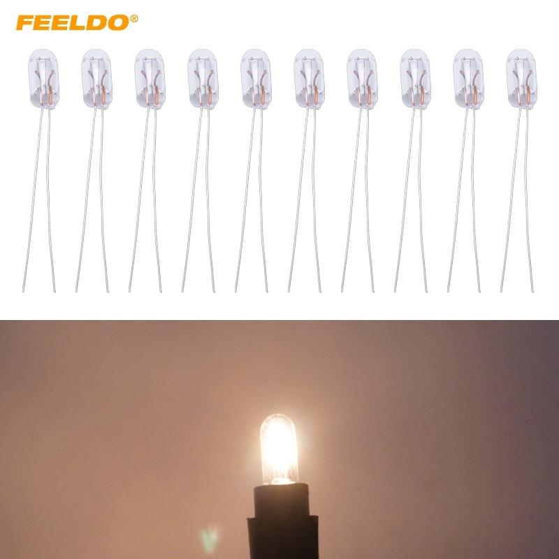 FEELDO 10Pcs Warm White/Amber Car T5 12V 1.2W Halogen Bulb External Halogen Lamp Replacement Dashboard Bulb Light #FD-2698