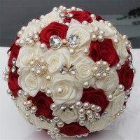Özelleştirilmiş Fildişi Şarap Kırmızı Ipek Çiçek Düğün Buket Gelin Buketleri Zarif Inci Gelin Nedime Yapay Gül W128-3