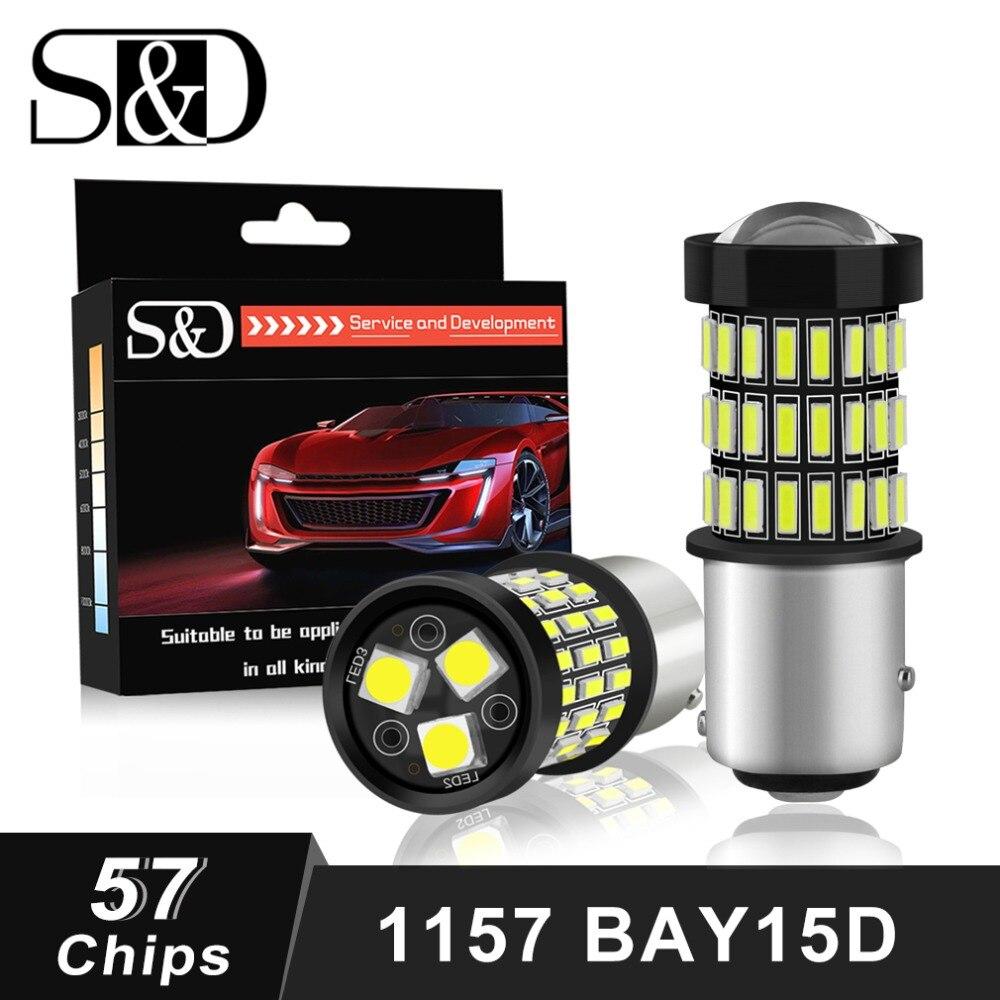 S D 2pcs 1157 BAY15D P21 5W LED Bulbs 12V White Red Amber Car Lights Stop