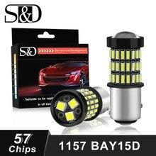 S & D 2 шт. 1157 BAY15D P21/5 Вт светодио дный лампы 12 В белый красный янтарь огни автомобиля Stop тормозные обратного Хвост резервного авто лампы 1200LM