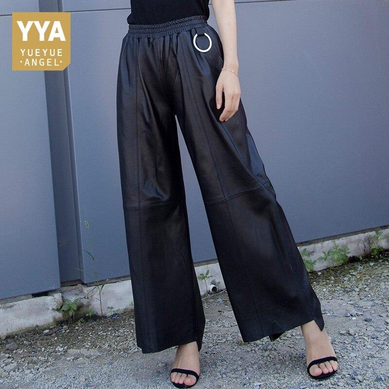 2019 Fashion Women Autumn Winter Black Genuine Leather Lambskin Loose Fit   Wide     Leg     Pants   Trousers Elastic Waist Pantalon Femme