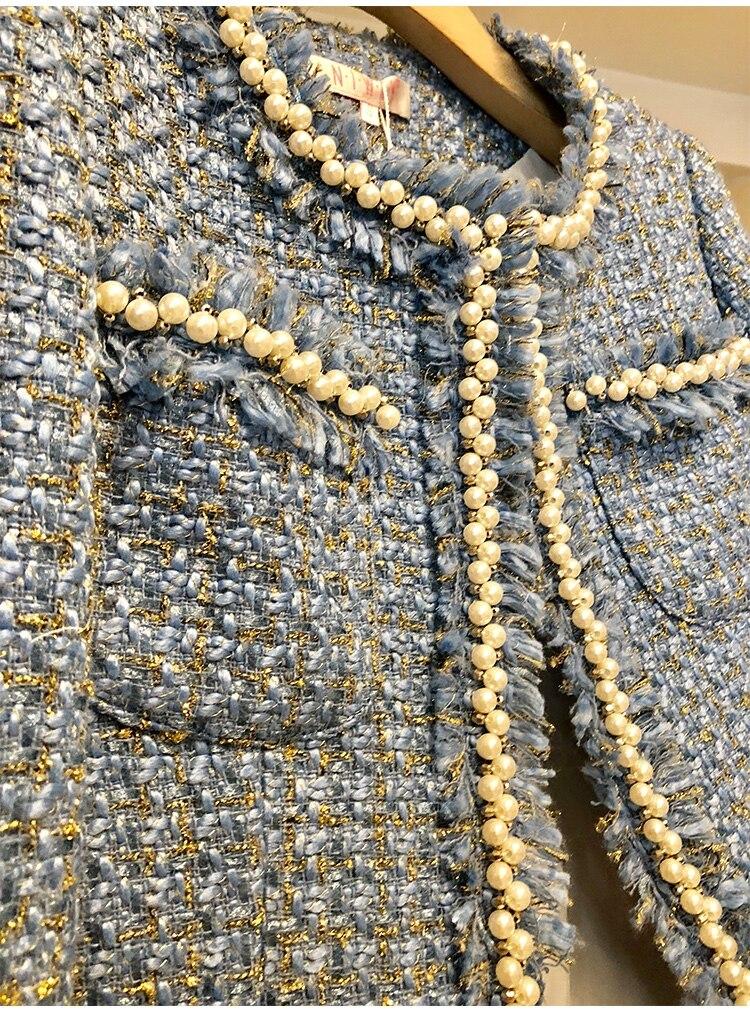 Marque Perle Gros Formelle Vêtements Veste De Style Quatre Manteaux Poches Gland Femmes Costume Court Grandes En Mode Tweed Perles Conception nwpt6xp
