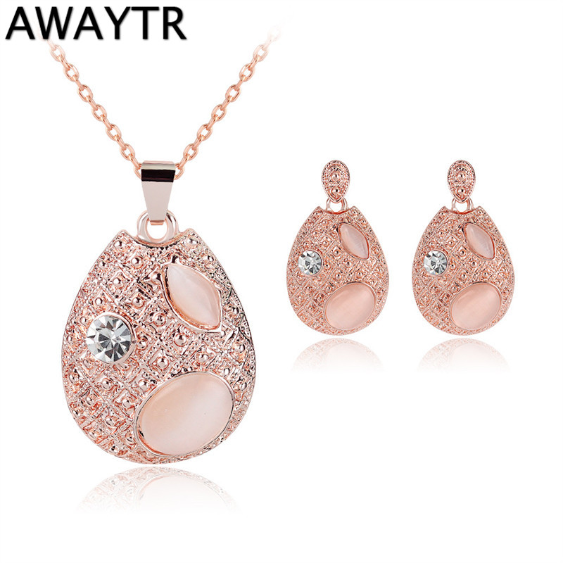 AWAYTR Pink Romantic Fantastic Filled Noble Austrian Crystal Necklace Earrings Jewelry Sets For Engagement Custome Jewelry Sets