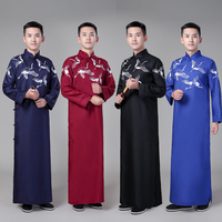 new crossover national gown male gown non reflective robes Stage performance clothing young students print crosstalk cloth